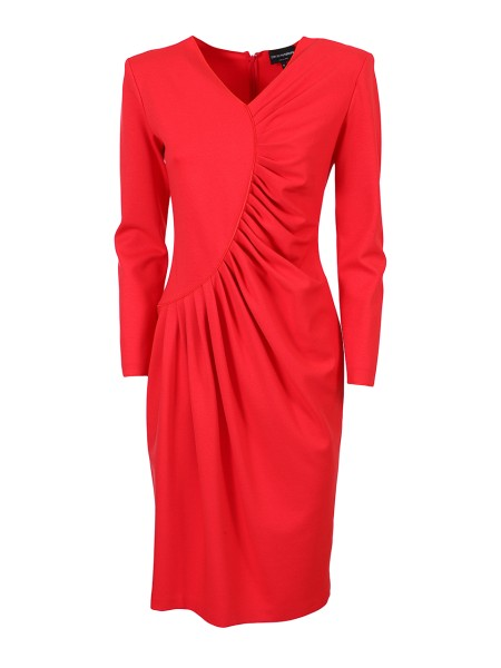 Shop EMPORIO ARMANI  Dress: Emporio Armani pink dress. V-neck. Long sleeve. Decorative folds along the frontal part of the dress, from the neck to the waist. Zip on the back. Made in Italy.. 3Z2A6B 2JFAZ -0318