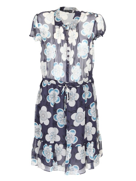 Shop EMPORIO ARMANI  Dress: Emporio Armani silk chiffon dress. Floral fantasy. Short balloon sleeves. Semi lined. Drawstring on the waistline. Corsage with buttons and pleating. Composition: 100% silk. Lining: 100% polyester.. 3Z2A73 2NRGZ-F904