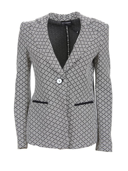 Shop EMPORIO ARMANI  Jacket: Emporio Armani stretch viscose jacket. One-button closure. Geometric texture. Two front pockets. External composition: 63% viscose 35% polyester 10% polyamide 2% elastan. Lining composition: 92% polyester 8% elastane.. 3Z2G6C 2JANZ -F002