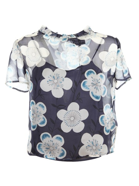 Shop EMPORIO ARMANI  Top: Giorgio Armani silk chiffon blouse. Floral fantasy. Short sleeves. Collar with rouche. Petticoat included. Composition: 100% silk. Imported product.. 3Z2K65 2NRGZ-F904