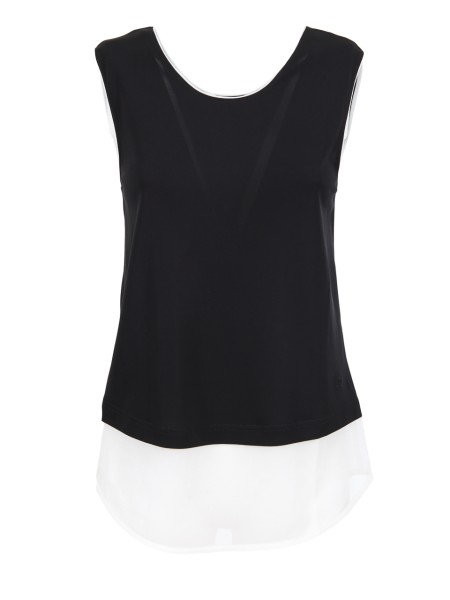 Shop EMPORIO ARMANI  Top: Emporio Armani viscose black top. Round neckline. Sleeveless. Composition: 100% viscose.. 3Z2M71 2JPQZ-0004