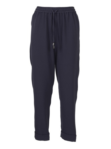 Shop EMPORIO ARMANI  Trousers: Emporio Armani stretch blue trousers. Drawstring on the waistline. Waistband with elastic. Bottom with cuffs. Side pockets. Composition: 95% polyester 5% elastane.. 3Z2P64 2NWQZ-0920