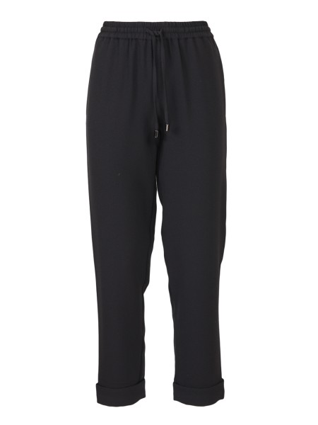 Shop EMPORIO ARMANI  Trousers: Emporio Armani stretch black trousers. Drawstring on the waistline. Waistband with elastic. Bottom with cuffs. Side pockets. Composition: 95% polyester 5% elastane.. 3Z2P64 2NWQZ-0999