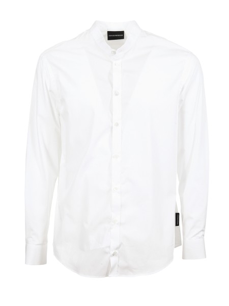 Shop EMPORIO ARMANI  Shirt: Emporio Armani white shirt. Mandarin collar. Long sleeve. 100% cotton.. W1SMGL W11F1-100