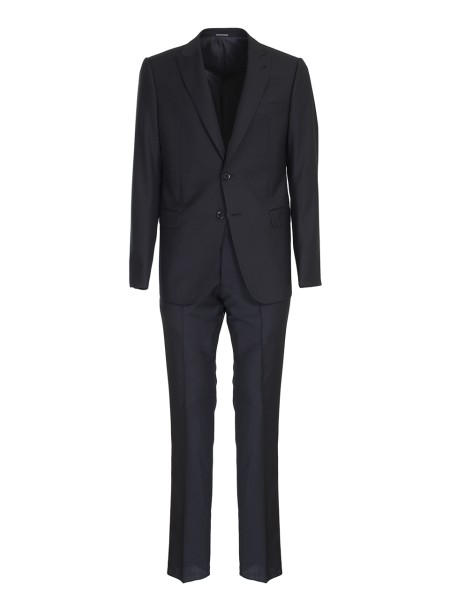 Shop EMPORIO ARMANI  Dress: Emporio Armani black suit. M line model. Two frontal buttons. Two back vests. 100% virgin wool.. W1VMGB  W1610-999