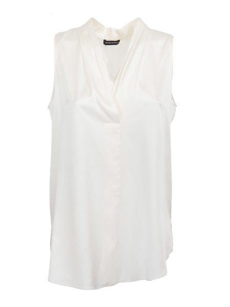 Shop EMPORIO ARMANI  Top: Emporio Armani white silk top. Crossed V-neckline. Sleeveless. Regular fit. Composition: 95% silk 5% elastane.. WNK04T WM301-101
