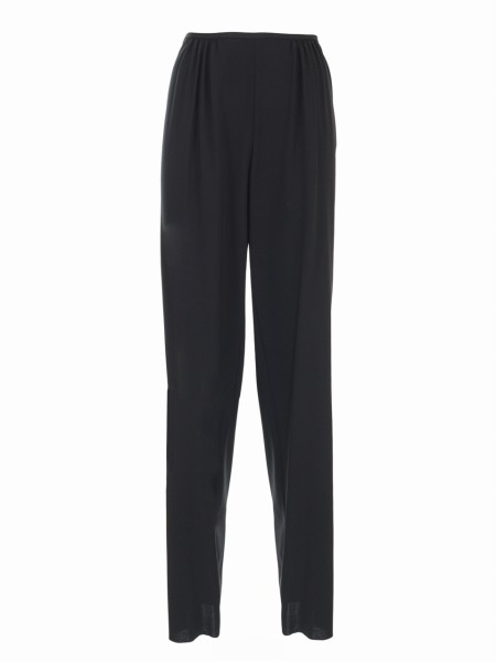 Shop EMPORIO ARMANI  Trousers: Emporio Armani black wool trousers. High waist. Regular fit. Trousers ruffled on the waist Composition: 96% wool 4% elastane.. WNP15T WM008-999
