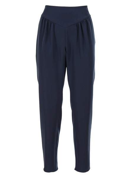 Shop EMPORIO ARMANI  Trousers: Emporio Armani blue trousers. High waist with band. Choppy. Side zip. Front welt pockets. Composition: 100% polyester.. WNP17T WM015-920
