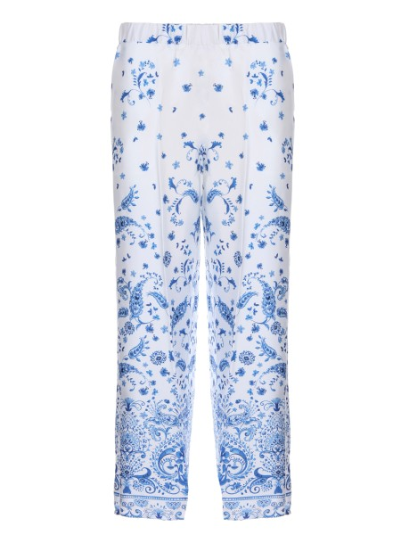 Shop ERMANNO ERMANNO SCERVINO  Trousers: Ermanno Ermanno Scervino twill trousers with fancy of majolica. Cropped length. Wide leg. Two French pockets. Composition: 100% Polyester.. PL19-F