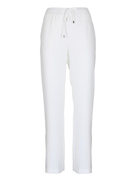 Shop ERMANNO ERMANNO SCERVINO  Trousers: Ermanno by Ermanno Scervino white trousers. Waist with elastic and drawstring. Cropped pants. Composition: 100% polyester. Made in Italy.. PL03-249
