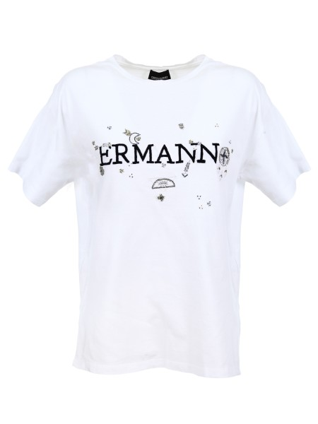 Shop ERMANNO ERMANNO  T-shirt: Ermanno Ermanno Scervino cotton jersey t-shirt. Short sleeves. Logo on the front. Composition: 100% cotton.. TS07-888