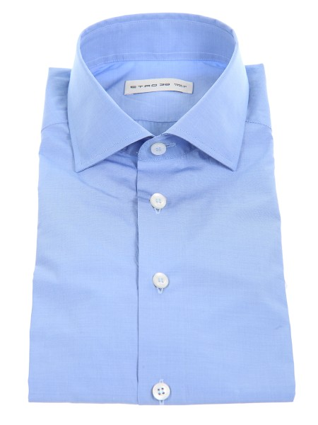 Shop ETRO  Shirt: Etro light blue shirt in cotton. Small French collar. Cuff with button. Contrasting white buttons. Composition: 100% cotton. Made in Italy.. 11451 6101-0251