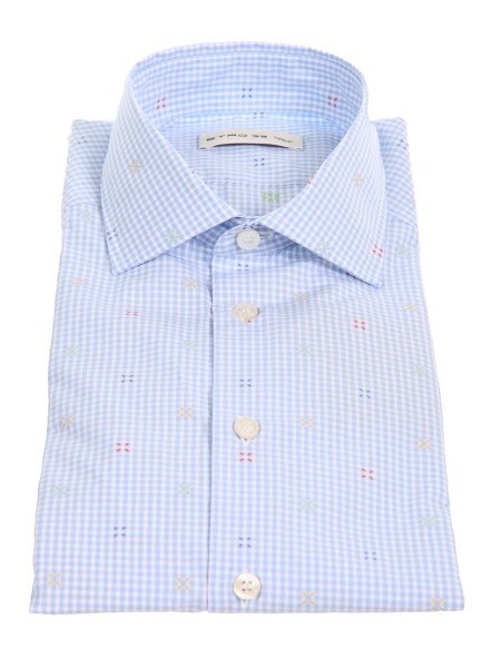 Shop ETRO  Shirt: Etro cotton shirt with white and light blue squares. Small French collar. Cuff with button. Small colored inserts. Composition: 100% cotton. Made in Italy.. 11451 6232-0250