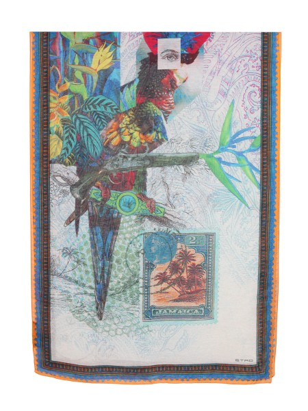Shop ETRO  Scarf: Etro scarf in linen and silk. Surreal tropic print. Fringed edges. Dimensions: 70 cm x 200 cm. Composition: 68% linen 32% silk. Made in Italy.. 11777 5127-0990
