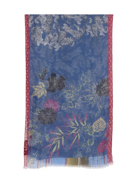 Shop ETRO  Scarf: Etro scarf in linen and silk. Floral fantasy. Fringed edges. Composition: 59% linen 41% silk. Made in Italy.. 12821 5698-0200