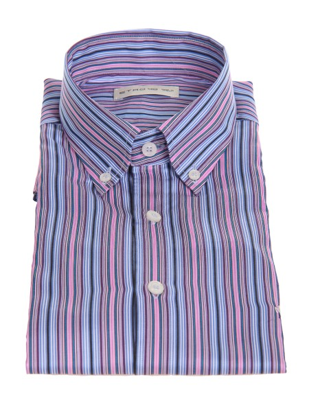 Shop ETRO  Shirt: Etro shirt in cotton with vertical stripes. Button down collar. Cuff with two buttons, to adjust the width. Slightly slim fit. Contrasting front logo. Composition: 100% cotton. Made in Italy.. 13864 6043-0200