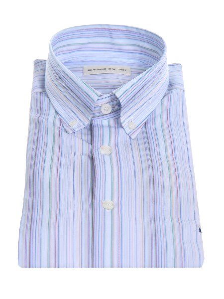 Shop ETRO  Shirt: Etro shirt in cotton with vertical stripes. Button down collar. Cuff with two buttons, to adjust the width. Slightly slim fit. Contrasting front logo. Composition: 100% cotton. Made in Italy.. 13864 6102-0250