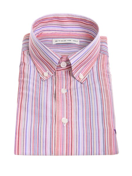 Shop ETRO  Shirt: Etro shirt in cotton with multicolored vertical stripes. Button down collar. Cuff with two buttons, to adjust the width. Slightly slim fit. Contrasting front logo. Composition: 100% cotton. Made in Italy.. 13864 6229-0650