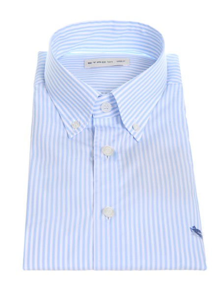 Shop ETRO  Shirt: Etro cotton shirt with white and light blue vertical stripes. Button down collar. Cuff with two buttons, to adjust the width. Slightly slim fit. Contrasting front logo. Composition: 100% cotton. Made in Italy.. 13864 6550-0250