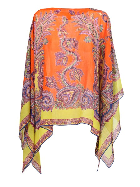 Shop ETRO  Poncho: Etro kaftan with multi-colored paisley print. V-neck. Comfortable fit. Composition: 100% silk. Made in Italy.. 15804 5659-0750