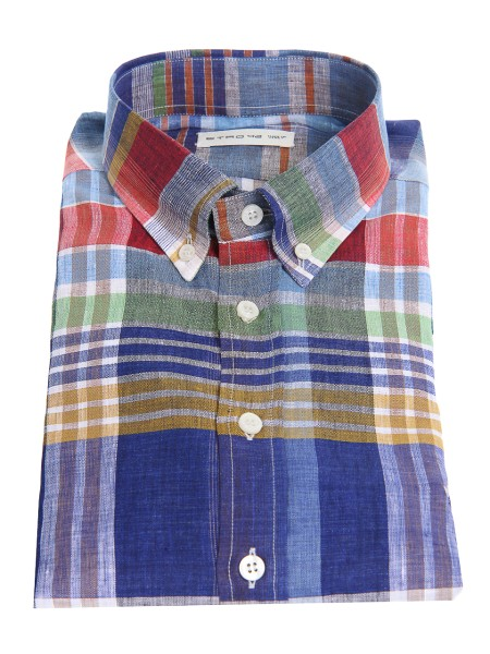 Shop ETRO  Shirt: Etro shirt in linen, checked, multicolored. Button down collar. Cuff with two buttons, to adjust the width. Slightly slim fit. Contrasting front logo. Composition: 100% linen. Made in Italy.. 16365 6211-0200
