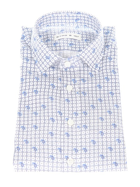 Shop ETRO  Shirt: Etro cotton shirt with traditional cashmere pattern, enriched by a sober tie pattern Small French collar. Cuff with two buttons, to adjust the width. Slim fit. Composition: 100% cotton. Made in Italy.. 16376 4741-0251