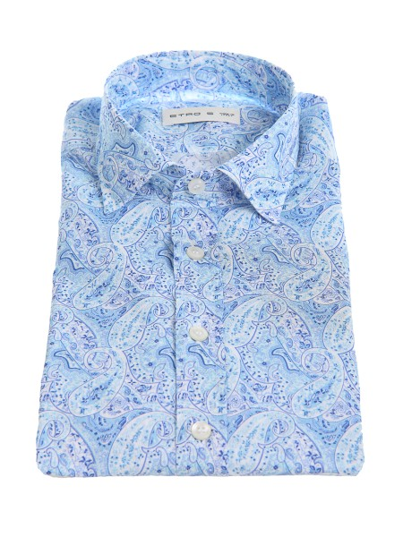 Shop ETRO  Shirt: Etro cotton shirt with traditional cashmere pattern, in white and light blue. Small French collar. Cuff with two buttons, to adjust the width. Slim fit. Composition: 100% cotton. Made in Italy.. 16376 6505-0250