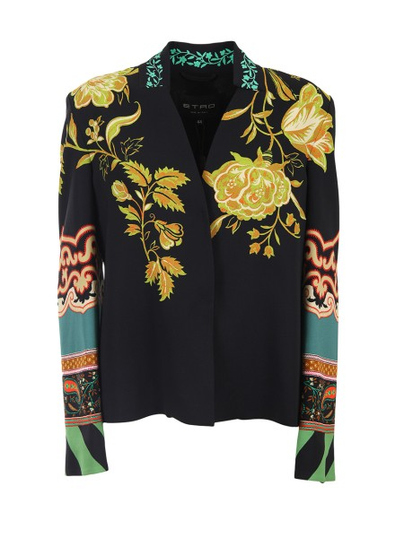 Shop ETRO  Jacket: Etro black jacket with floral print. Long sleeves. Hidden buttoning with automatic buttons. Composition: 96% viscose 4% elastane. Lining: 100% silk. Made in Italy.. 17590 9531-0001