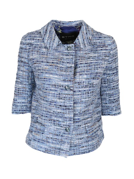 Shop ETRO  Jacket: Etro cotton tweed jacket, melange. Short sleeves. Closure with jeweled buttons. Composition: 32% polyamide 26% acrylic 21% cotton 18% viscose 3% polyester. Made in Italy.. 17597 1536-0200