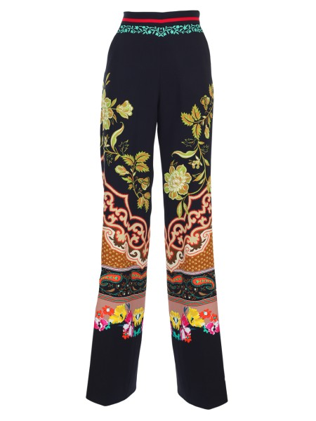 Shop ETRO  Trousers: Etro trousers in viscose. High waist. Straight cut. Multicolored fantasy on black background. Composition: 96% viscose 4% elastane. Made in Italy.. 17630 9533-0001