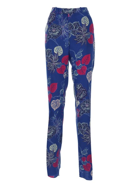 Shop ETRO  Trousers: Etro trousers in silk, blue, with floral print. Flared bottom. Zip and button closure. Two button pockets on the back. Composition: 100% silk. Made in Italy.. 17636 4345-0200