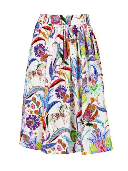 Shop ETRO  Skirt: Etro midi wheel skirt in cotton. Decorated with a mix of multicolor floral prints on a white base. Composition: 100% cotton. Made in Italy.. 17683 4491-0990