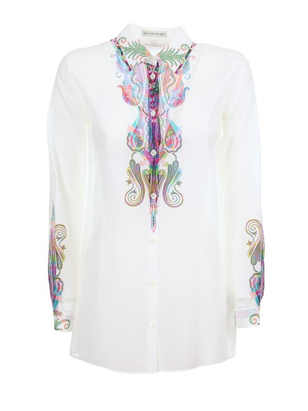 Shop ETRO  Shirt: Etro white shirt in cotton and silk. Paisley print degradé. Long sleeves. Cuffs with button. Composition: 72% cotton 28% silk. Made in Italy.. 17830 9503-0990