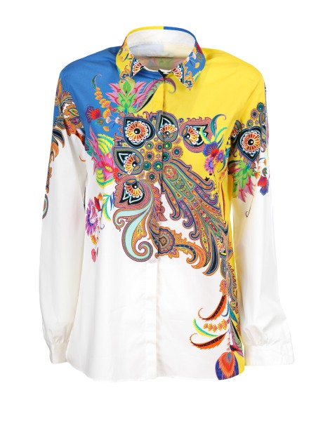 Shop ETRO  Shirt: Etro cotton shirt with floral and paisley print. Multicolor. Long sleeves. Hidden buttoning. Composition: 97% cotton 3% elastane. Made in Italy.. 17831 9513 -0700