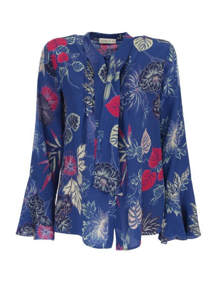 Shop ETRO  Shirt: Etro blue silk shirt, with floral pattern. Long sleeves, flared at the bottom. Tie included. Closure with pearl-shaped buttons. Composition: 100% silk. Made in Italy.. 17853 4345-0200