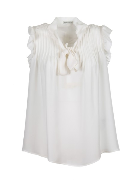 Shop ETRO  Top: Etro top in white silk. V-neckline Ribbons on the front that can be worn collected, to form a bow, or left free. Pleated details and rouche on the armhole. Composition: 100% silk. Made in Italy.. 17883 8623-0990