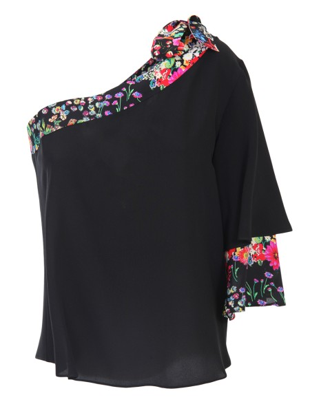 Shop ETRO  Top: Etro top, one-shoulder, in black silk. Neckline and sleeve hem in floral print. Bow on the shoulder. Composition: 100% silk. Made in Italy.. 17897 8628 -0001