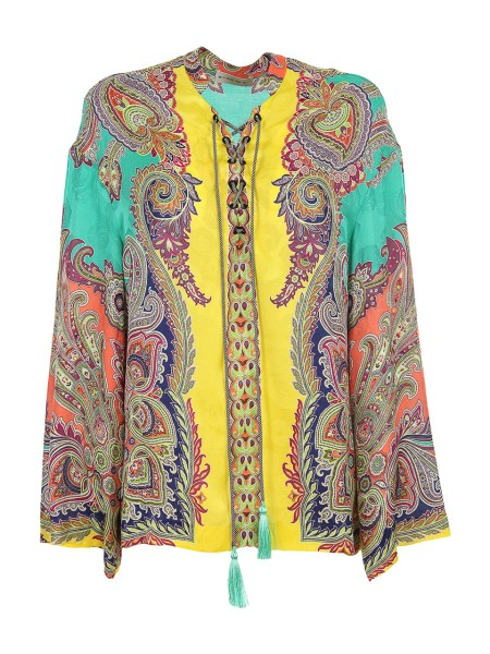 Shop ETRO  Shirt: Etro yellow jacquard top with paisley patterns. Closure with laces. Long sleeves, flared. Round neckline. Composition: 65% viscose 35% silk. Made in Italy.. 17912 4486-0500