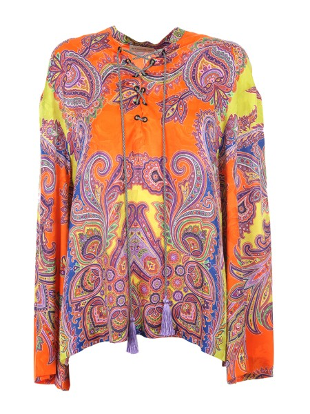 Shop ETRO  Shirt: Etro orange jacquard top with paisley patterns. Closure with laces. Long sleeves, flared. Round neckline. Composition: 65% viscose 35% silk. Made in Italy.. 17912 4486-0750