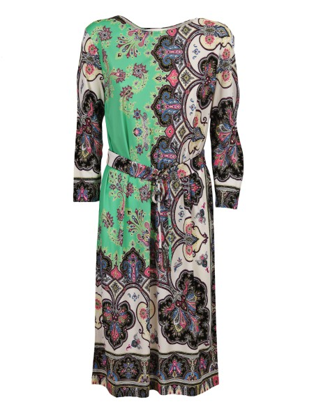 Shop ETRO  Dress: Etro long dress in viscose. Paisley print. Belt on the hips. Long sleeves. Round neckline. Coimposition: 100% viscose. Made in Italy.. 18018 4565-0500