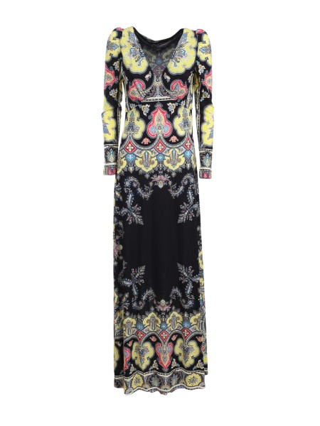 Shop ETRO  Dress: Etro long dress, in viscose, with multicolored Paisley print on black. Long sleeves. Round neckline. External composition: 100% viscose. Lining composition: 100% viscose. Made in Italy.. 18030 4565-0001
