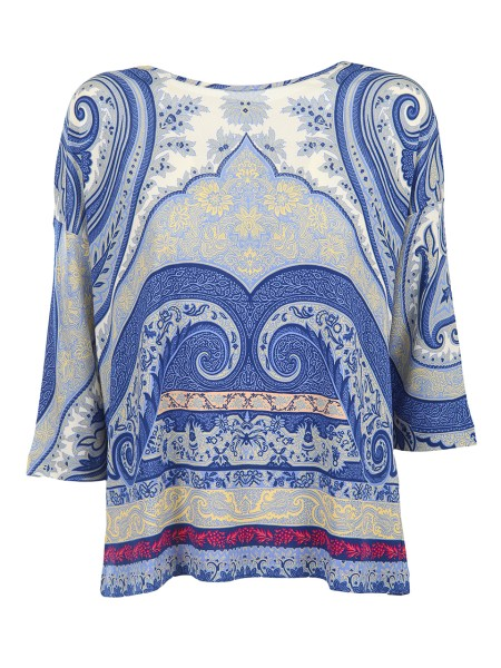 Shop ETRO  T-shirt: Etro blue blouse with cashmere print. Round neckline. Low shoulder sleeves. 3/4 sleeves. Composition: 100% viscose. Made in Italy.. 18033 8657-0200