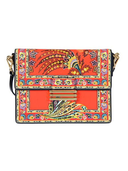 "Shop ETRO  Bag: Etro leather bag ""Rainbow"", embroidered with floral motifs. Embroidered, removable shoulder strap (25 cm). Removable leather shoulder strap (55 cm). Equipped with two practical compartments and an applied pocket. Closure with a golden metal 'E' identifying the brand. Dimensions: length 24.5 cm height 18 cm depth 9.5 cm. Composition: 100% calfskin. Made in Italy.. 1H715 9131-0600"
