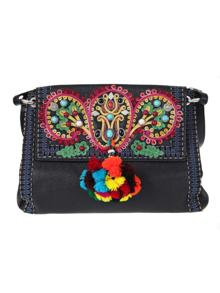 "Shop ETRO  Bag: Etro ""foulard"" bag in black leather. Decorated with floral embroidery, tassels and multi-colored stones. Fully lined. Embroidered handle. Removable leather shoulder strap. Dimensions: length 32 cm height 24 cm depth 10 cm. Composition: 100% calfskin. Made in Italy.. 1H834 9128-0001"