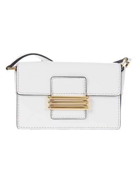 "Shop ETRO  Bag: Etro white leather bag ""Rainbow mini"". Removable leather shoulder strap. (55 cm) Equipped with two practical compartments and an applied pocket. Closure with a golden metal 'E' identifying the brand. Dimensions: length 18.5 cm height 12 cm depth 7 cm. Composition: 100% calfskin. Made in Italy.. 1H840 2526 -0990"