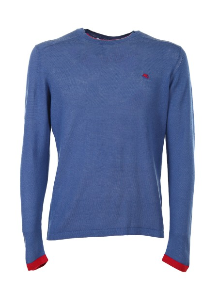 Shop ETRO  Pullover: Etro blue cotton sweater. Contrasting front logo. Round neckline. Cuffs of red color. Composition: 100% cotton. Made in Italy.. 1M500 9101-0202