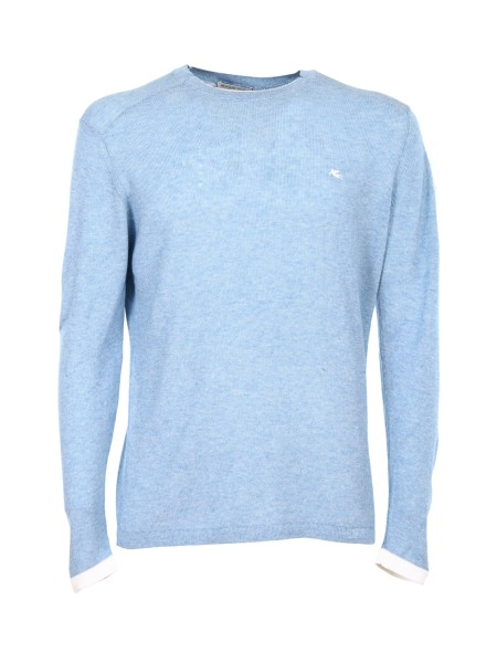 Shop ETRO  Pullover: Etro light blue cotton sweater. Contrasting front logo. Round neckline. Cuffs of white color. Composition: 100% cotton. Made in Italy.. 1M500 9101-0251