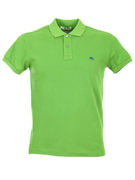 Shop ETRO  Polo Shirt: Etro green polo shirt in cotton. Short sleeves. Collar with two buttons. Regular fit. Contrasting front logo. Composition: 100% cotton. Made in Italy.. 1Y040 9150-0505