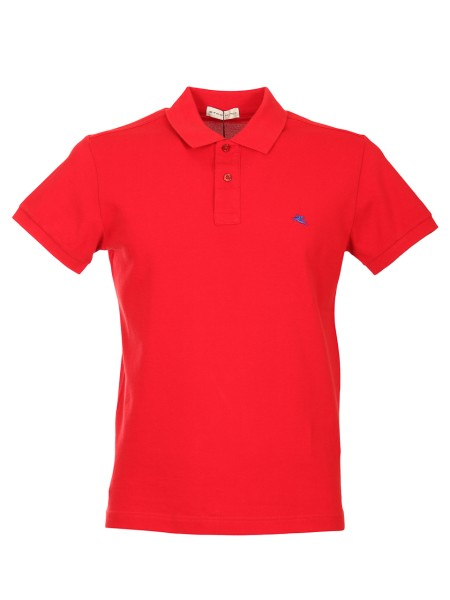Shop ETRO  Polo Shirt: Etro red polo shirt in cotton. Short sleeves. Collar with two buttons. Regular fit. Contrasting front logo. Composition: 100% cotton. Made in Italy.. 1Y040 9150-0604