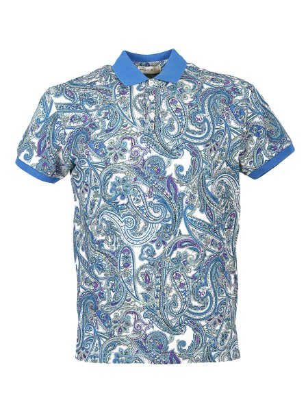 Shop ETRO  Polo Shirt: Etro polo in cotton with cashmere design. Three-button collar. Contrasting collar and sleeve profiles. Regular fit. Composition: 100% cotton. Made in Italy.. 1Y800 4028-0251